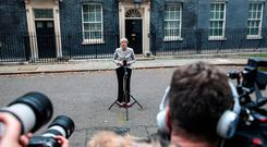 Prime Minster Theresa May makes a statement on Brexit outside Number 10 Downing Street on November 22, 2018 in London, England. (Photo by Jack Taylor/Getty Images)