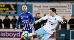 Firing in: Andy McGrory powers home for Ballymena