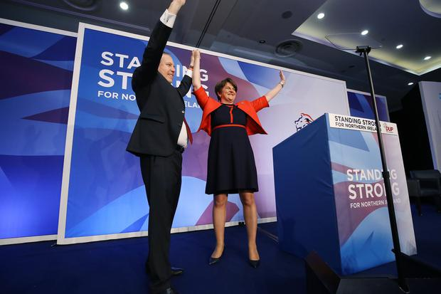 Leader Arlene Foster and deputy leader Nigel Dodds pictured at the DUP annual conference at the Crowne Plaza Hotel in Belfast. Photo by Kelvin Boyes / Press Eye.