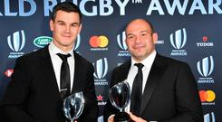 World Rugby Player of the Year award winner Johnny Sexton and Irish national team captain Rory Best.