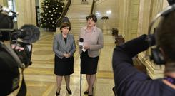 DUP Leader Arlen Foster pictured with Dianne Dodds after a meeting with Retail and Manufacturing representatives around how Brexit will affect their Industry. ©Presseye/Stephen Hamilton