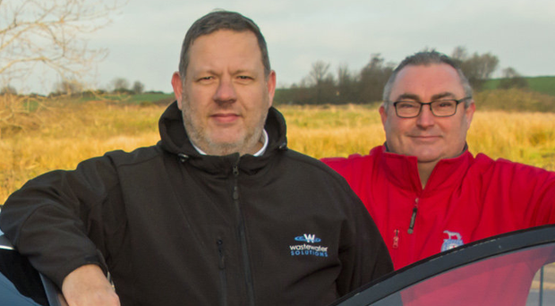 On up: Philip Johnston (l), managing director of Wastewater Solutions, with Easter Stages Rally director Graeme Stewart