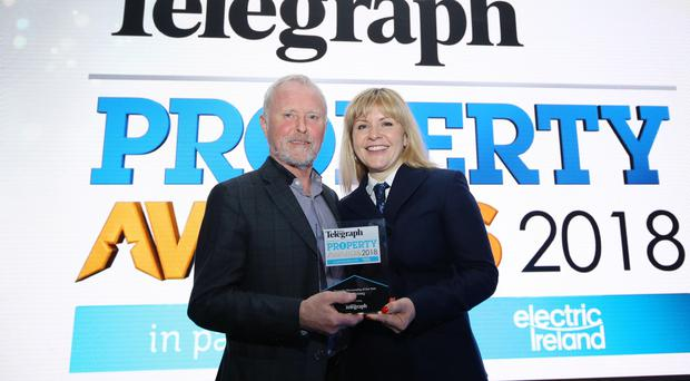Press Eye - Belfast - Northern Ireland - 16th November 2018 Belfast Telegraph Property Awards 2018 in the Crowne Plaza, Belfast. Property Personality of the Year Ð Bill Wolsey Bill Wolsey Director of Beannchor Group with his wife Petra Photo by Kelvin Boyes / Press Eye.