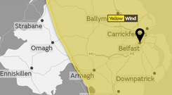 A yellow weather warning is in place.
