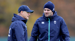 Going back: Jared Payne (r) has worked with Joe Schmidt (l) as a player and coach