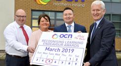 At the launch of the awards are (l-r): Roger Talbot, VP Malone Integrated College; Michelle Simpson, Lecturer, North West Regional College; Martin Flynn, CEO Open College Network NI and David Babington, CEO Action Mental Health.