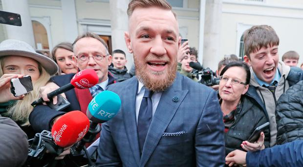 Conor McGregor leaving Naas District Court yesterday