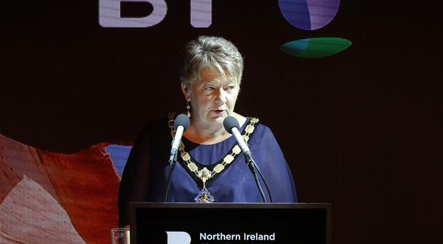 Ellvena Graham (President of NI Chamber) pictured at the NI Chamber President's Banquet at ICC Belfast earlier this evening. Photo by Kelvin Boyes / Press Eye.