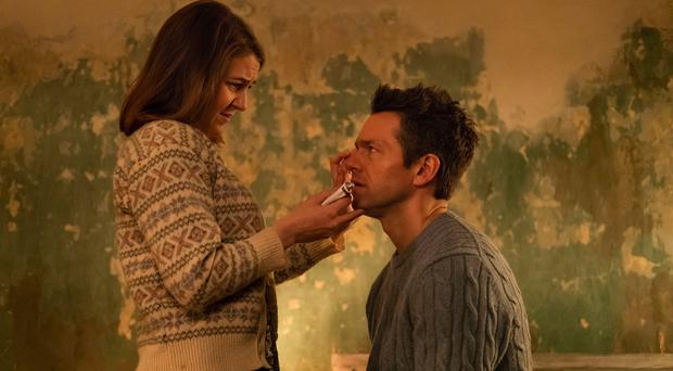 Comedic drama: Gemma Whelan with Julian Ovenden in Surviving Christmas with the Relatives