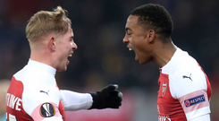 Rising stars: Arsenal's Joe Willock (right) celebrates with Emile Smith Rowe after scoring his side's third goal last night