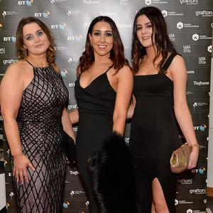 Press Eye - Belfast - Northern Ireland - 29th November 2018 - Avril Clark,Anne Gallagher and Karen Malone pictured at the NI Chamber PresidentÕs Banquet 2018 at the ICC Belfast. Photo by Stephen Hamilton / Press Eye.