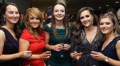Press Eye - Belfast - Northern Ireland - 29th November 2018 - Marilyn Parlett, Christine Hobson, Emeryn Erwin, Sinead Cunningham and Olivia Hamill pictured at the NI Chamber President's Banquet 2018 at the ICC Belfast. Photo by Kelvin Boyes / Press Eye.