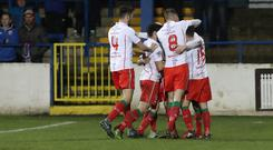 Newry's Mark McCabe celebrates his goal during this evenings game at Ballycastle Road Coleraine. Picture: Dessie Loughrey/Pacemaker Press