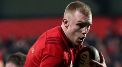 Treble yell: Keith Earls gets over the line for Munster