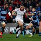 Ulster's Stuart McCloskey in against against Cardiff Blues.