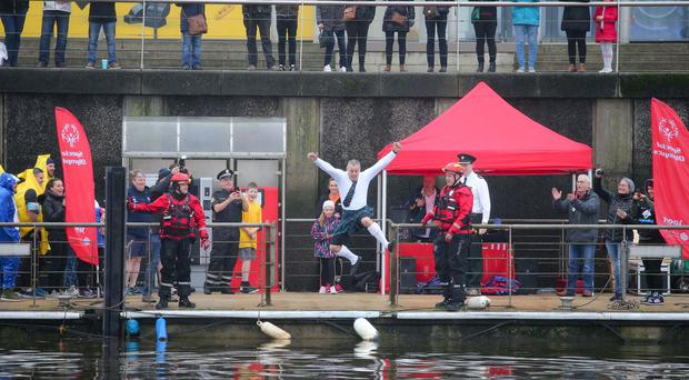 Almost 20 fundraisers from Belfast and beyond took on the challenge to plunge into the River Lagan on Saturday 1 December. Photos by Philip Magowan / PressEye.