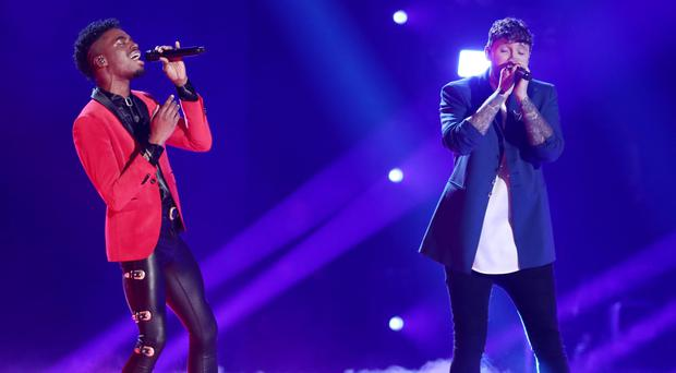 Dalton sang with James Arthur during the tense finale (Thames/Syco/REX/Shutterstock)