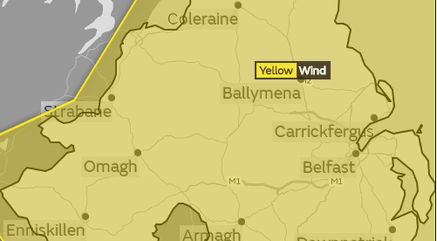 A yellow weather warning has been issued for Northern Ireland.