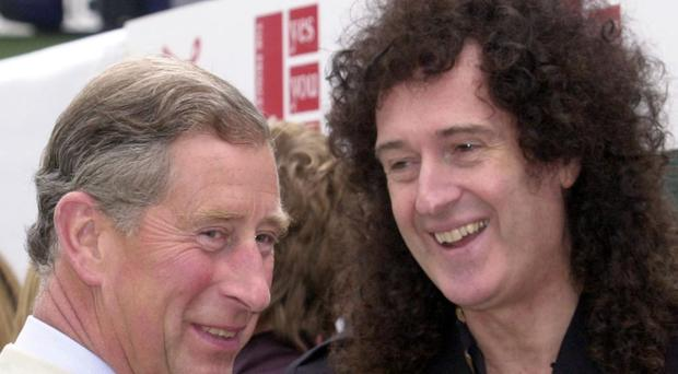 The Prince of Wales meets Queen guitarist Brian May at the Party In The Park in London's Hyde Park (Stefan Rousseau/PA)