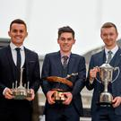 Award winners: Motorsport Ireland's International Driver of the Year Jordan Dempsey is flanked by Young Drivers of the Year Charlie Eastwood (left) and James Wilson