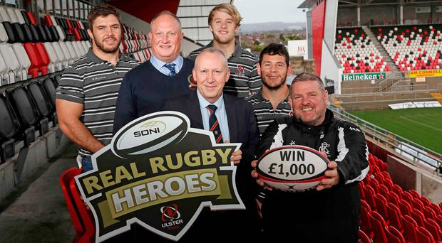 Pictured at the launch of the Real Rugby Heroes Award are (from left to right): Wiehahn Herbst (Ulster Rugby), Patrick Baird, (Adult winner 2018), Nick Fullerton (Director, SONI), Rob Lyttle (Ulster Rugby), Marcell Coetzee (Ulster Rugby), Noel Brown (Youth & Mini Rugby winner 2018)