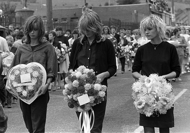 Members of pop group Bananarama at the funeral of 'roadie' Thomas O'Reilly, who was shot dead by the army in west Belfast in August 1983