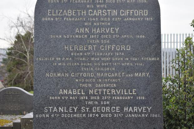 The gravestone remembering, among others, Herbert Gifford Harvey, who was a junior assistant second engineer on the Titanic. He was in the engine room when the ship sank went down and it is not known if his body was ever recovered.