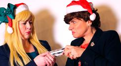 Christmas cracker: 'Michelle O'Neill' and 'Arlene Foster' have finally been reunited for a special festive show