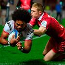 Touchdown: Henry Speight goes over for Ulster's second try in last night's victory over Scarlets