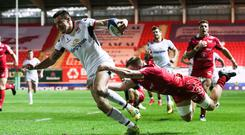 Ulster's Jacob Stockdale scored the first try of the night.