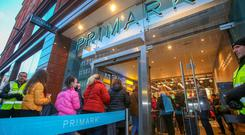 Shoppers queued outside the new Primark store in Belfast after it reopened on Saturday. Pic Pacemaker