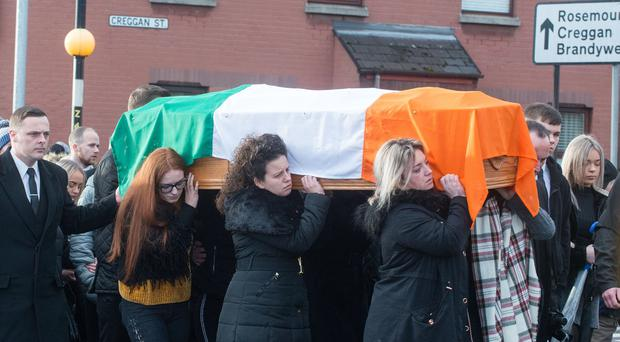 The funeral of father of nine Eddie Meenan, who died after an assault in Derry in the early hours of the 25th of November. Mr. Meenan's Requiem Mass took place at St Eugene's Cathedral, in Creggan Street, opposite where he was found. Picture Martin McKeown. Inpresspics.com. 08.12.18