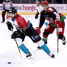 Press Eye - Belfast - Northern Ireland - 09th December 2018 - Photo by William Cherry/Presseye Belfast Giants' Lewis Hook with Cardiff Devils' Matt Pope during Sunday evenings Elite Ice Hockey League game at the SSE Arena, Belfast. Photo by William Cherry/Presseye