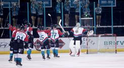 Press Eye - Belfast - Northern Ireland - 09th December 2018 - Photo by William Cherry/Presseye Belfast Giants' Tyler Beskorowany celebrates after defeating Cardiff Devils in the shootout during Sunday evenings Elite Ice Hockey League game at the SSE Arena, Belfast. Photo by William Cherry/Presseye