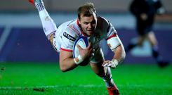 Star man: Will Addison goes over for an Ulster try against Scarlets