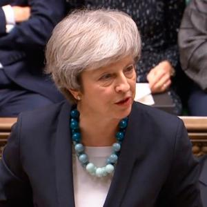 Prime Minister Theresa May making a statement in the House of Commons. Photo credit: PARBUL/PA Wire
