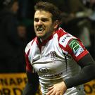 Saints and winners: Jared Payne scores in Ulster's win over Northampton in 2012