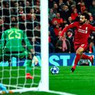 Mohamed Salah gives Liverpool the lead against Napoli.
