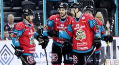 Belfast Giants celebrate Francis Beauvillier's goal against Dundee Stars earlier this month.