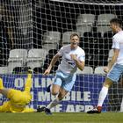 Knockout blow: Leroy Millar hits the winner for Ballymena United at Seaview