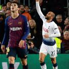 Late show: Lucas Moura after his crucial late equaliser for Spurs against Barcelona last night at the Nou Camp