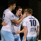 Hat-trick: Leroy Millar is congratulated after scoring the goal which put Ballymena in the final again