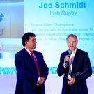 Top man: Ireland head coach Joe Schmidt, the 2018 Philips Manager Of The Year, with RTE's Des Cahill