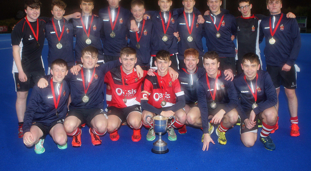 On a high: Wallace celebrate their McCullough Cup final success at Lisnagarvey after beating holders Sullivan Upper