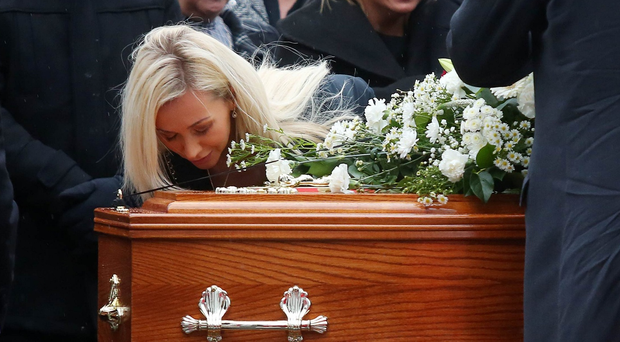 Funeral for Jim Donegan at St John the Evangelist on the Falls Road, Belfast