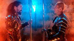 Relatable villain: Patrick Wilson (right) and Jason Momoa in a scene from Aquaman