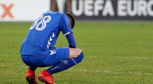 Rangers FC Kyle Lafferty looks dejected after losing the Europa League Group G soccer match between SK Rapid Vienna and Rangers FC at the Allianz Stadium in Vienna, Austria, Thursday, Dec. 13, 2018. (AP Photo/Ronald Zak)