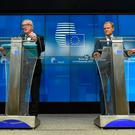 President of Commission Jean Claude Juncker (L) and President of Council Donald Tusk (R) give a joint press on December 13, 2018 in Brussels during a European Summit aimed at discussing the Brexit deal. (Photo by JOHN THYS / AFP)JOHN THYS/AFP/Getty Images