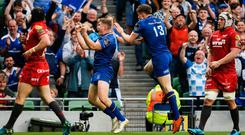 Winning feeling: Leinster celebrate their PRO14 final win over Scarlets at the Aviva Stadium in May