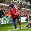 Ulster's Henry Speight fails to gather the ball as he crosses the line.